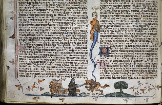 Dunstan pinching the Devil from BL Royal 10 E IV, f. 250v