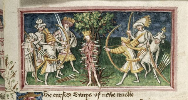 Edmund being shot from BL Harley 2278, f. 61