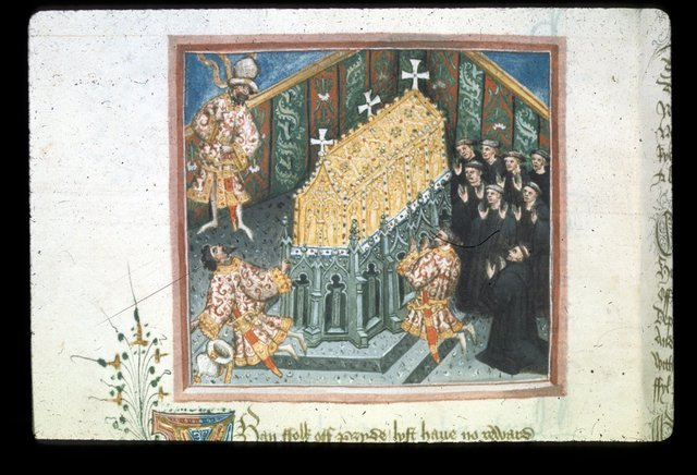 Edmund's tomb from BL Harley 2278, f. 110v