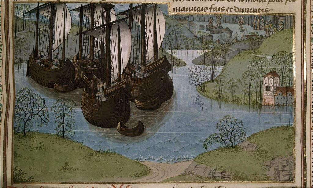 Edward I returning from Gascony from BL Royal 15 E IV, f. 287