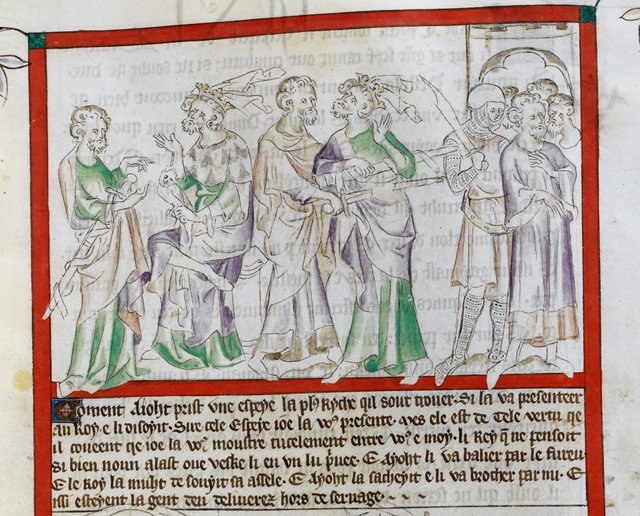Eliud offering a sword from BL Royal 2 B VII, f. 31