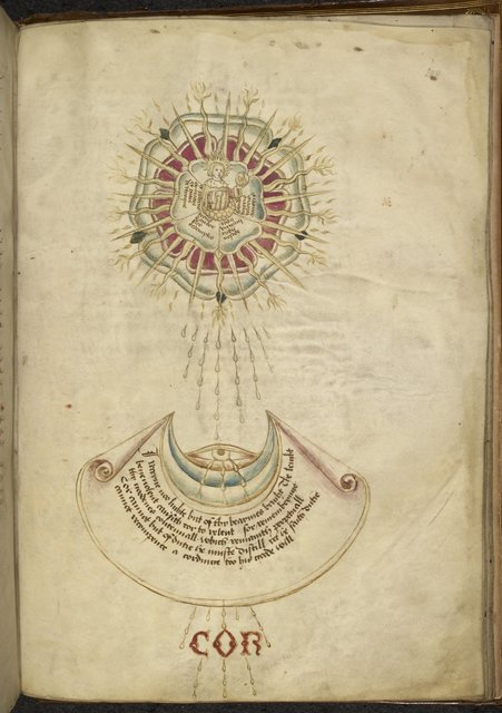 Emblem of Percy moon receiving light from the Tudor sun from BL Royal 18 D II, f. 200