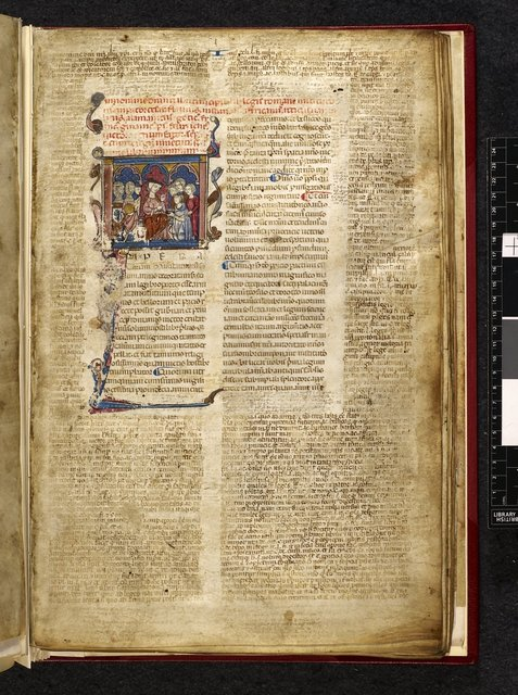 Emperor Justinian and historiated initial from BL Harley 3750, f. 3