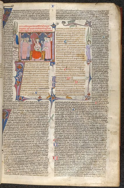 Emperor Justinian, initial and border from BL Arundel 484, f. 6