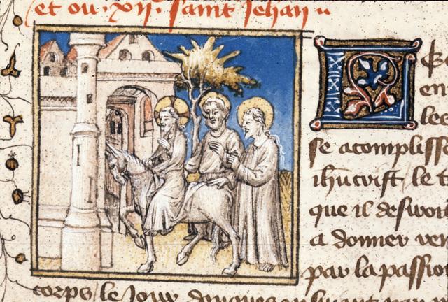 Entry into Jerusalem from BL Royal 20 B IV, f. 102