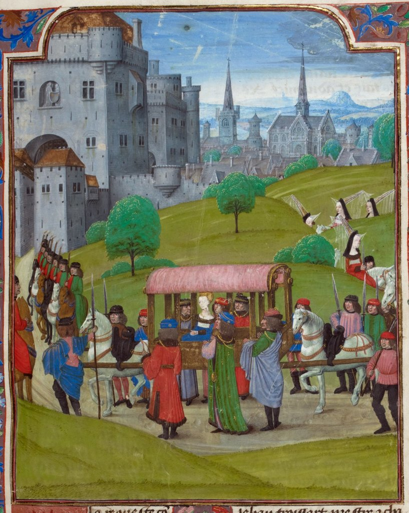 Entry of Isabel of Bavaria into Paris from BL Royal 18 E II, f. 7
