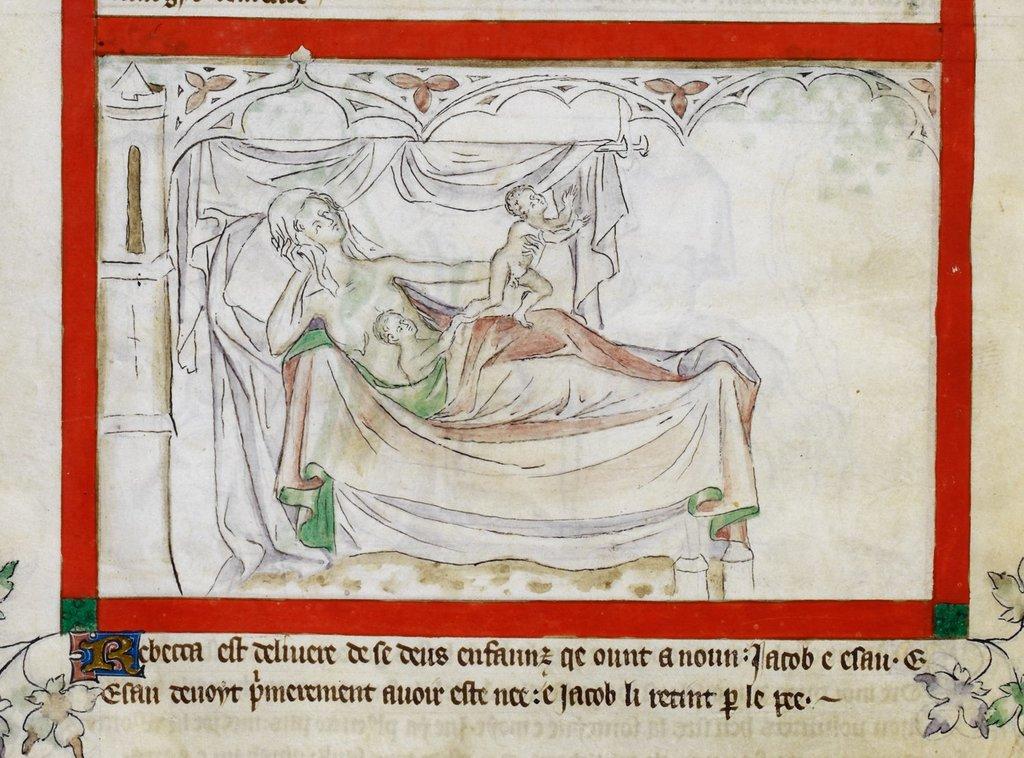 Esau and Jacob from BL Royal 2 B VII, f. 12v