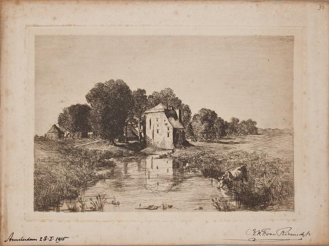 Ets ondertekend / door Barthold Willem Floris van Riemsdijk (1850-1942), dir. Rijksmuseum, voor Louise Westermann-Heinze (1837-1929)