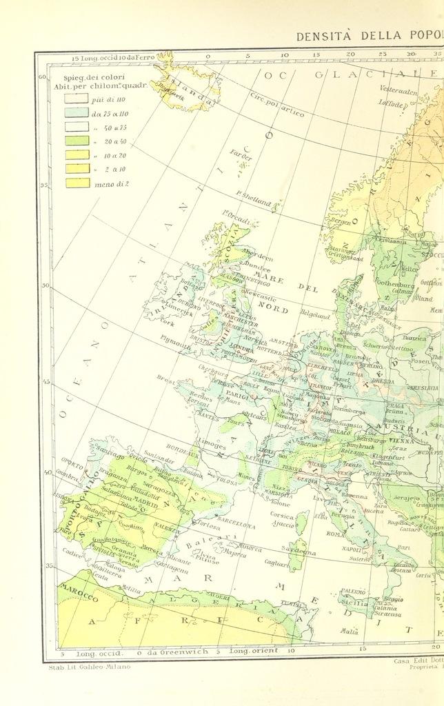 """Europe from """"La Terra, trattato popolare di geografia universale per G. Marinelli ed altri scienziati italiani, etc. [With illustrations and maps.]"""""""