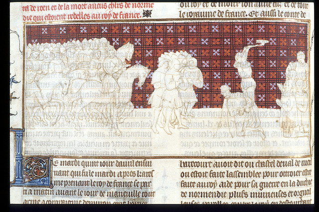 Execution of the count of Harcourt from BL Royal 20 C VII, f. 112v