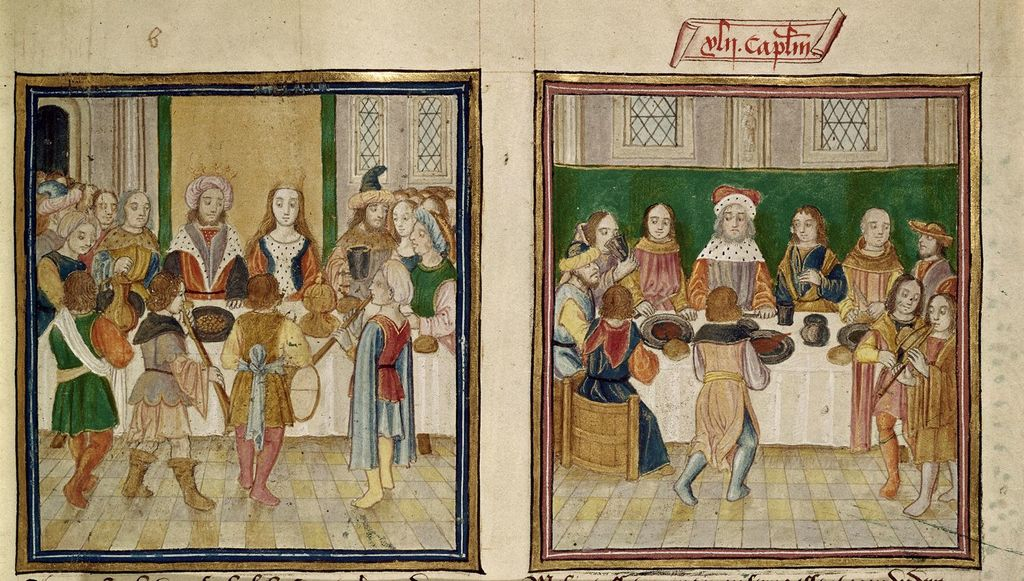 Feast from BL Harley 2838, f. 45