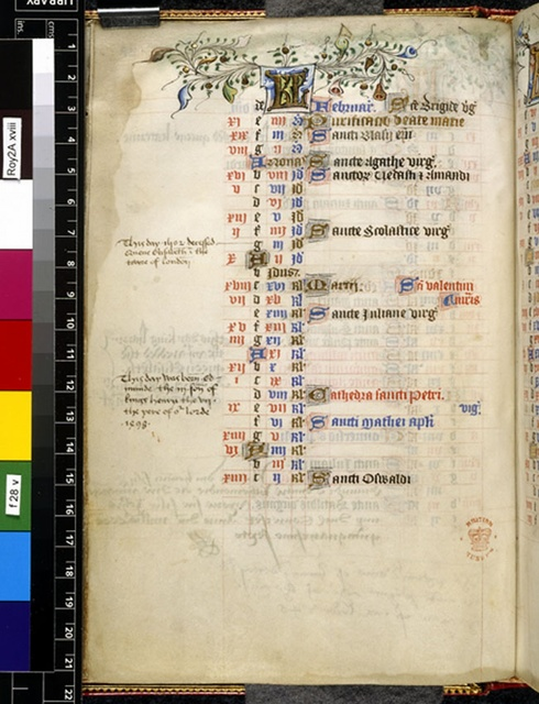 February from BL Royal 2 A XVIII, f. 28v