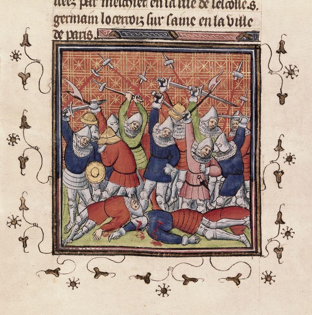 Fighting at Bruges from BL Royal 20 C VII, f. 33v