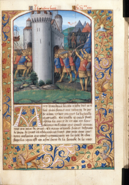 Fighting at the gates of Byzantium from BL Royal 19 C VI, f. 152