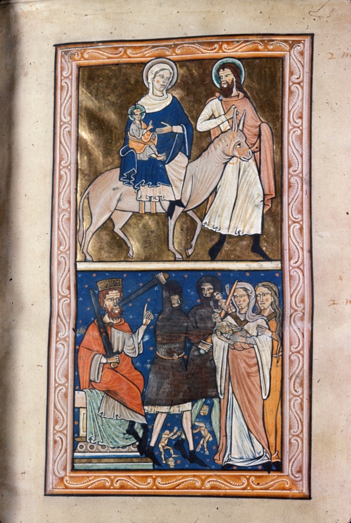 Flight into Egypt and the Massacre of the Innocents from BL Royal 1 D X, f. 3