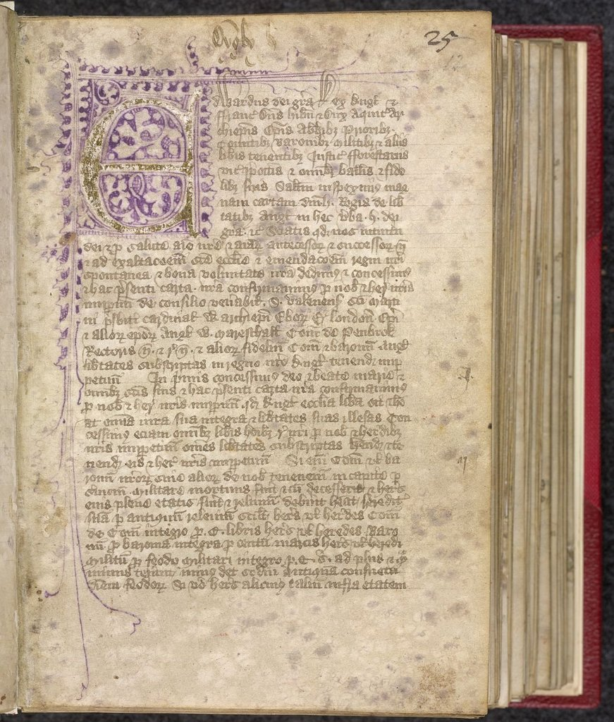 Flourished initial from BL Lansdowne 475, f. 12