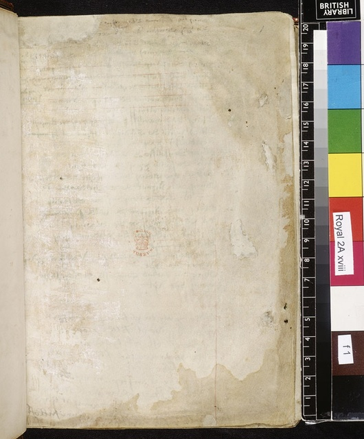 Flyleaf from BL Royal 2 A XVIII, f. 1