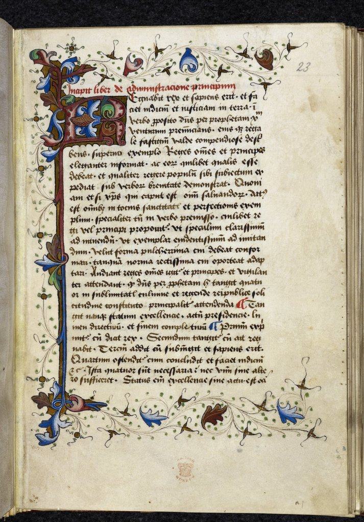 Foliate initial from BL Royal 12 D XV, f. 23
