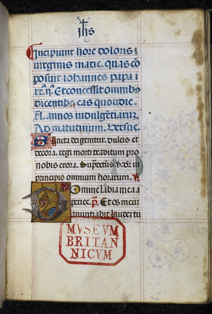 Foliate initial from BL Royal 2 A VII, f. 1