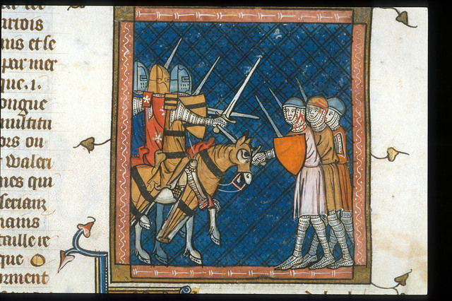Foot soldiers and cavalry from BL Royal 16 G VI, f. 381