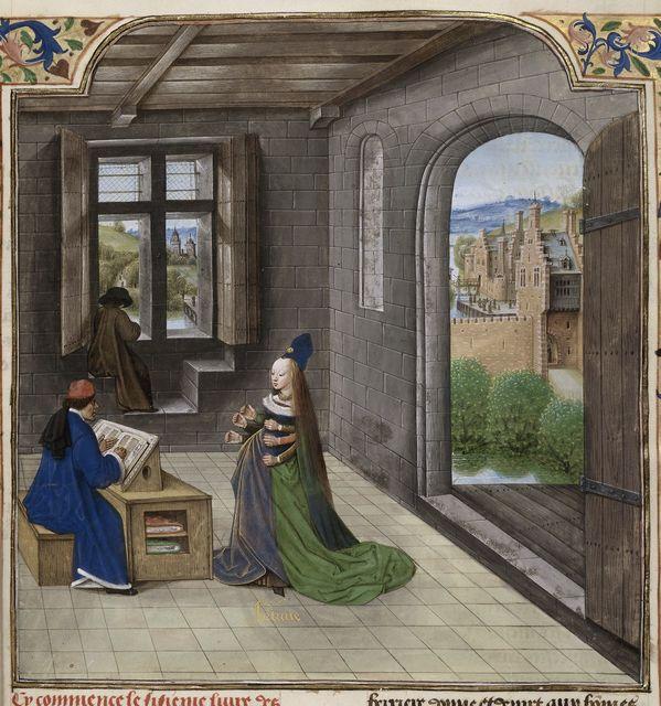 Fortune appearing to Boccaccio from BL Royal 14 E V, f. 291