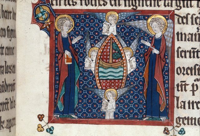 Four angels and four winds from BL Royal 15 D II, f. 132