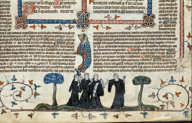 Four monks from BL Royal 10 E IV, f. 222