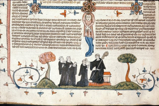 Four monks from BL Royal 10 E IV, f. 222v