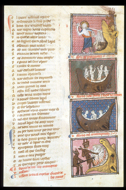 Four scenes of Hell from BL Royal 19 C I, f. 185v
