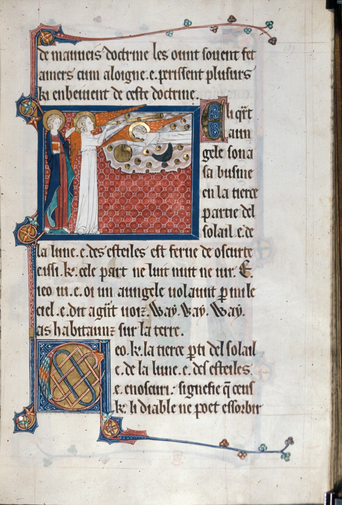 Fourth angel sounding his trumpet from BL Royal 15 D II, f. 139