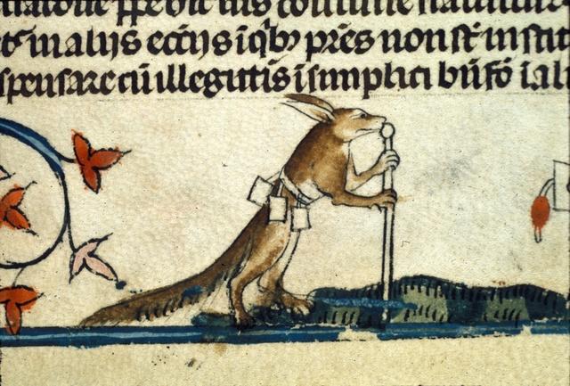 Fox dressed as a palmer from BL Royal 10 E IV, f. 53v