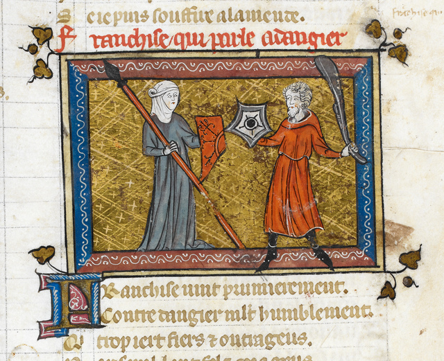 Franchise and Dangier from BL Royal 19 B XIII, f. 103