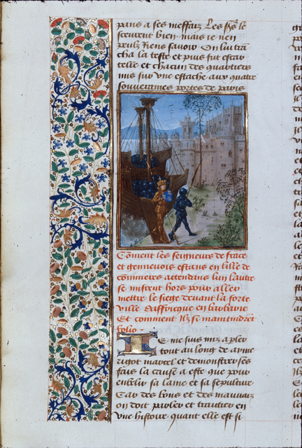 French army disembarks in Africa from BL Royal 14 D VI, f. 84v