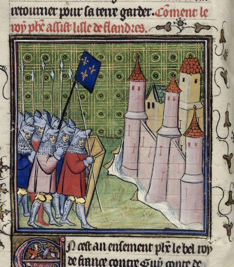 French besieging from BL Royal 20 C VII, f. 29v
