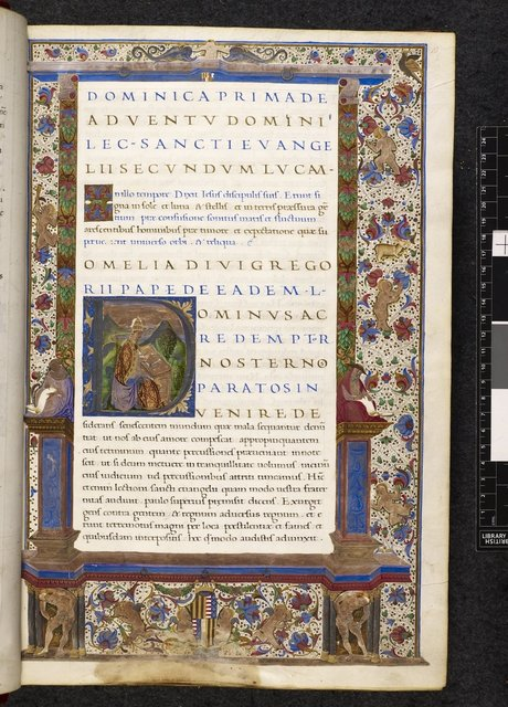 Full-page architectural border from BL Harley 3046, f. 10