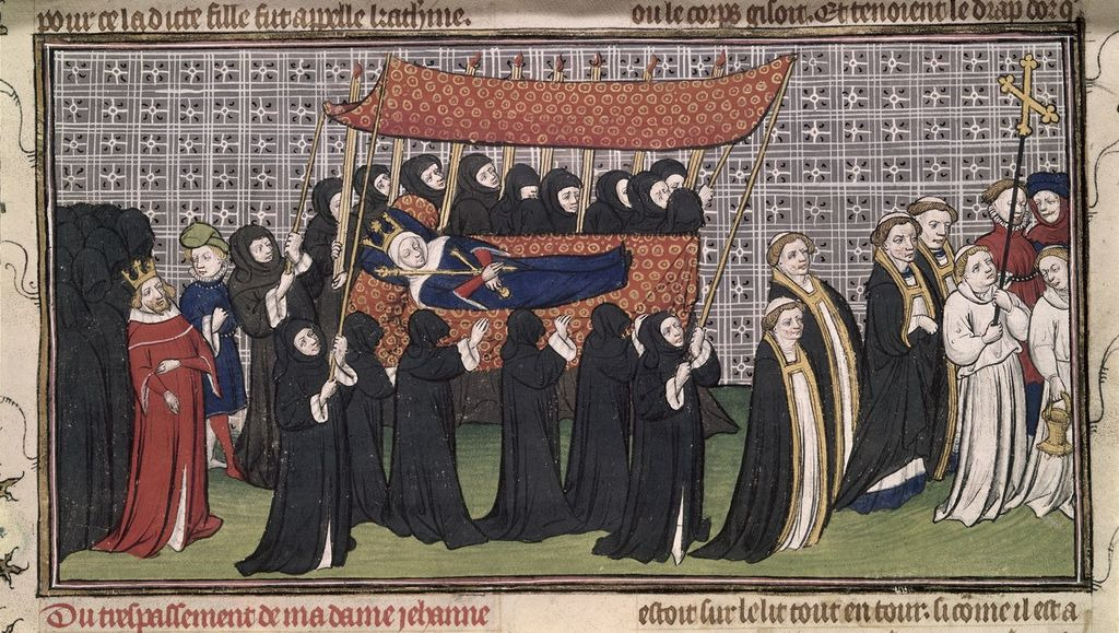 Funeral procession from BL Royal 20 C VII, f. 200