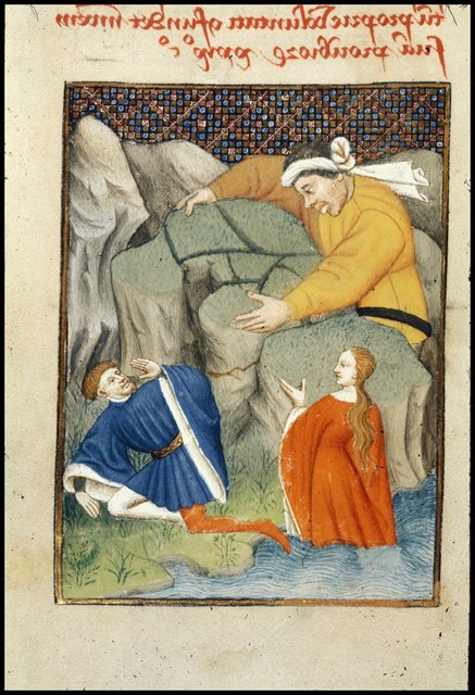 Galatea, Acis, and Polyphemus from BL Harley 4431, f. 122