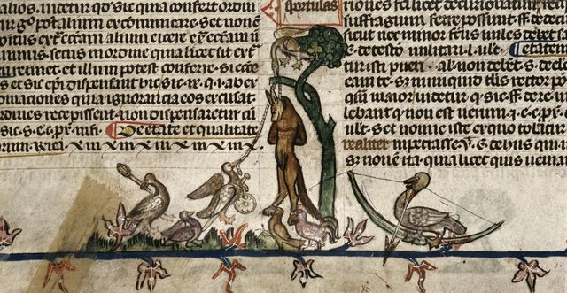 Geese hanging a fox from BL Royal 10 E IV, f. 48v