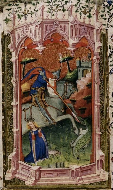 George and the dragon from BL Royal 2 A XVIII, f. 5v