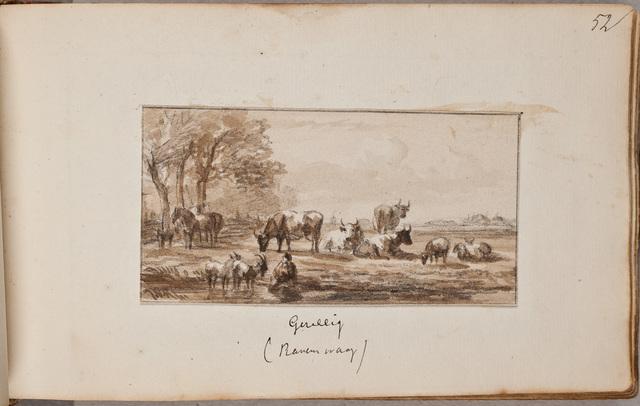 """""""Gezellig"""", grazend vee / door [Jan van] Ravenswaay (1789-1869)"""