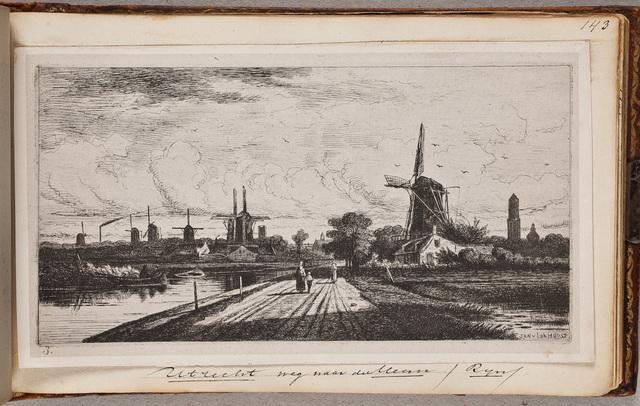 Gezicht op de weg van Utrecht naar de Meern met allerlei molens aan weerszijden / door Jan v[an] Lokhorst (1837-na 1874)