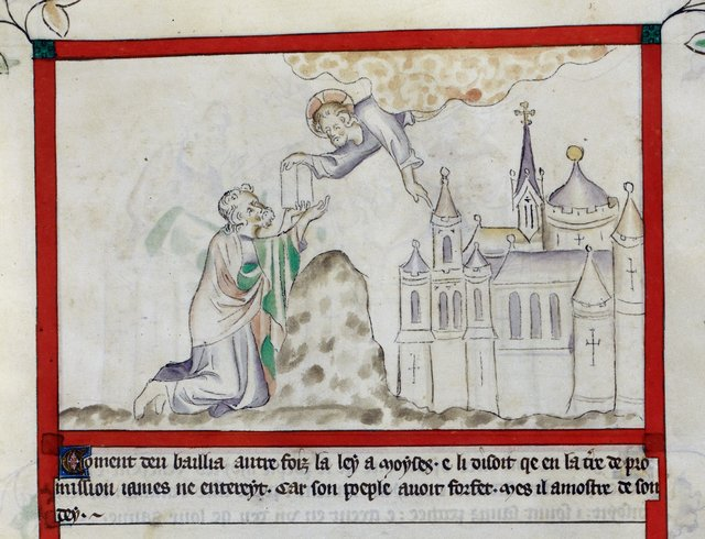 God giving the laws to Moses from BL Royal 2 B VII, f. 26