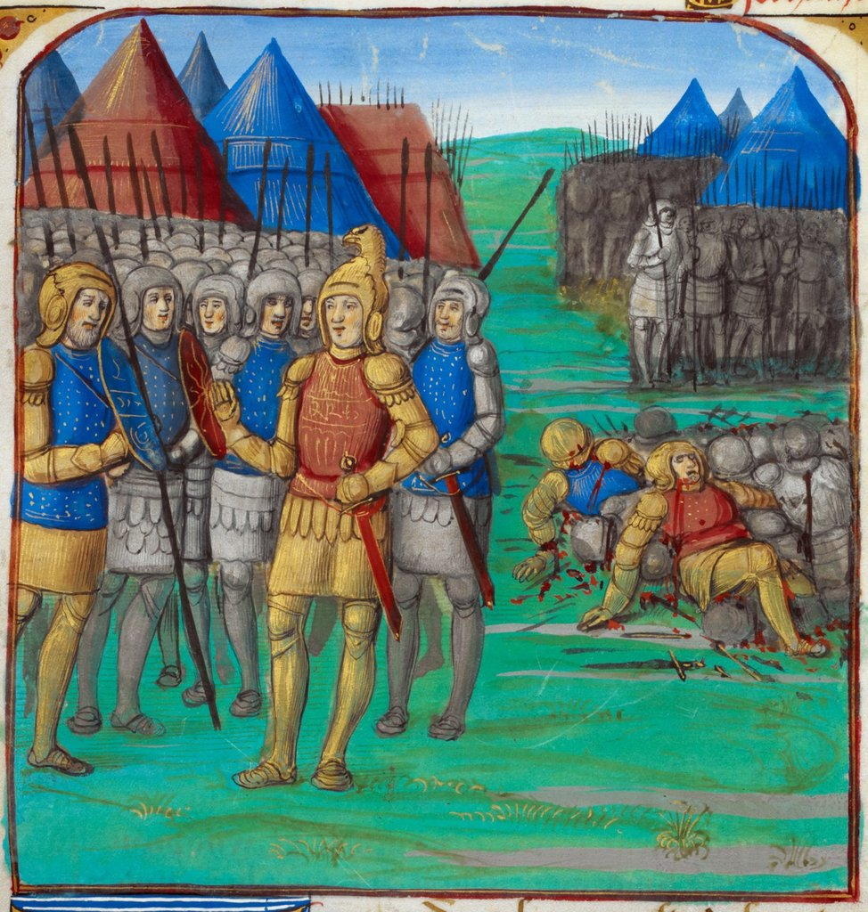 Greek army with Xenophon from BL Royal 19 C VI, f. 83