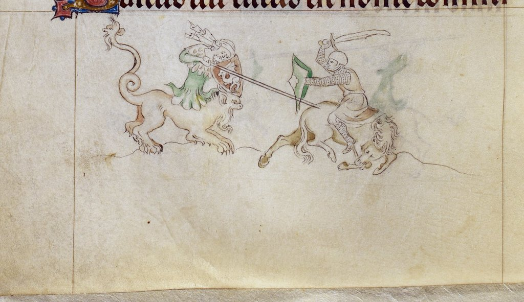 Grotesque and knight from BL Royal 2 B VII, f. 133v