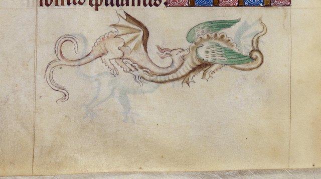 Grotesque dragons from BL Royal 2 B VII, f. 136v