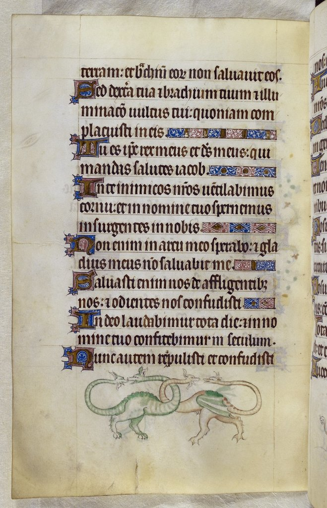 Grotesque dragons from BL Royal 2 B VII, f. 138v