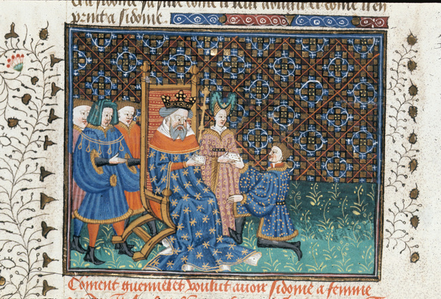 Guennelet giving letters to Haguel and Sidoine from BL Royal 15 E VI, f. 223v