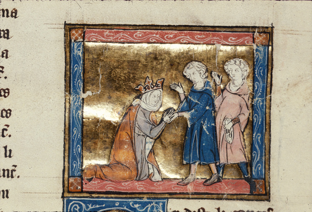 Guinevere kneeling before Sir Lancelot from BL Royal 14 E III, f. 155