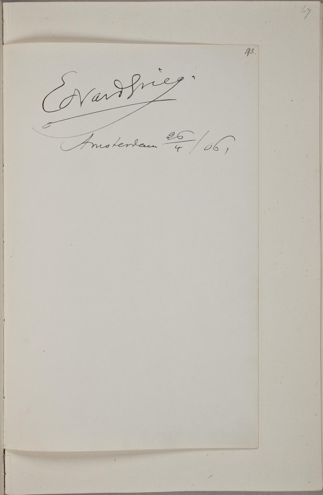 Handtekening / van Edvard Grieg (1843-1907), componist, in het autografenalbum van Rudolf Hugo Driessen (1873-1946) en Caroline Driessen-Kleyn (1883-1938)
