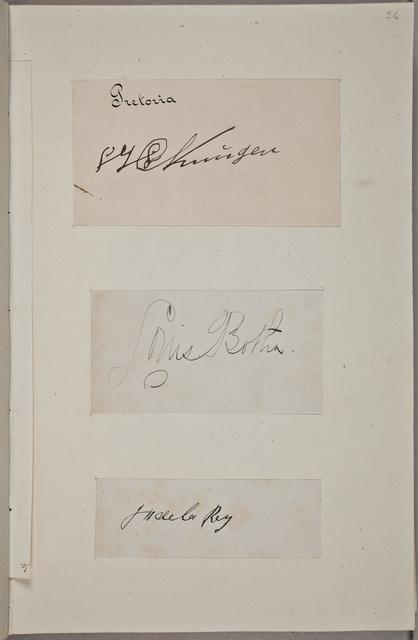 """Handtekening / van Jacobus Herculaas (""""Koos"""") de la Rey (1847-1914), generaal, in het autografenalbum van Rudolf Hugo Driessen (1873-1946) en Caroline Driessen-Kleyn (1883-1938)"""